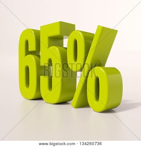 3d render: green 65 percent, percentage discount sign on white, 65%