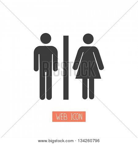 Toilets vector icon. Style is flat rounded symbol, black color, rounded angles, white background.