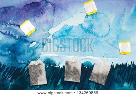 Teabags On Watercolor Background