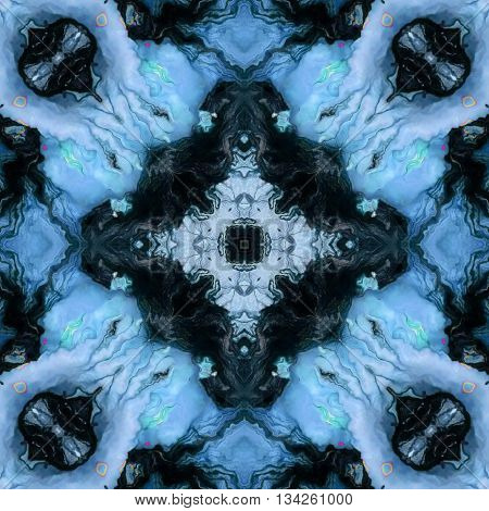 Ornamental abstract blue and black pattern texture