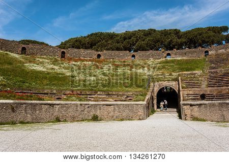 Ancient Arena of the Amphitheatre in Pompeii, Italy,
