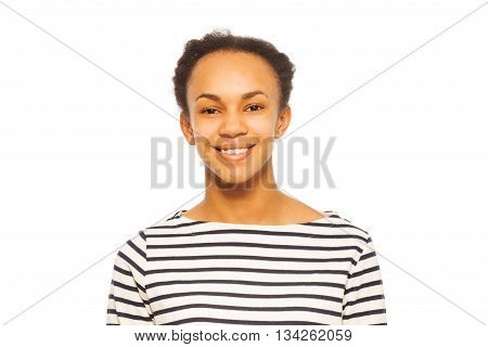 Portrait of pretty smiling African girl,  teenager, isolated on white background