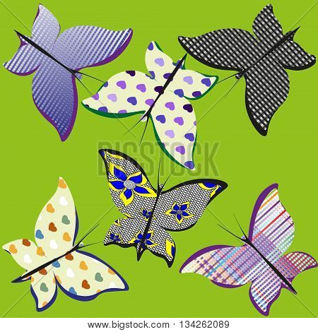 Six butterflies patchwork fabric vector set Illustration on a green background Six butterflies simple patchwork fabric vector set for decoration and design