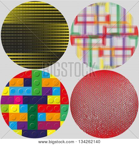 Set of four decorative circle with geometric pattern Set on gray background four decorative circle with geometric pattern Parallel lines, designer game, quads and small rhombus for decoration