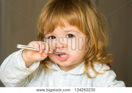 Baby Boy With Teeth Brush