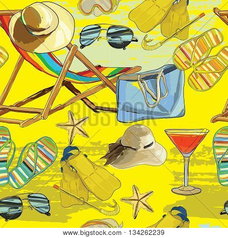 Vector illustration of summer seamless pattern, recliner on the sand with hat, sunglass, bag for wrapping paper, wallpaper, patern for web.