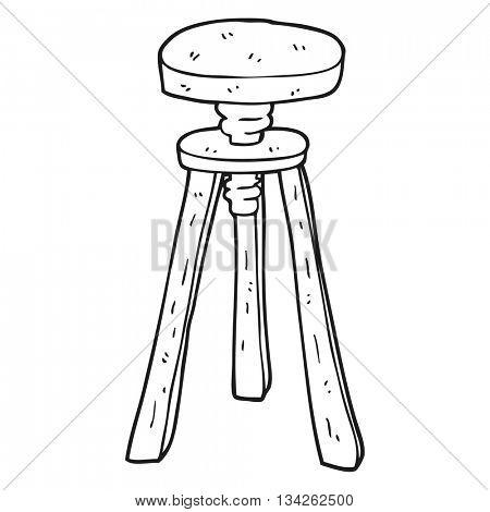 freehand drawn black and white cartoon artist stool