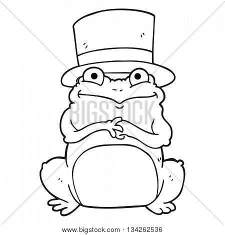 freehand drawn black and white cartoon frog in top hat
