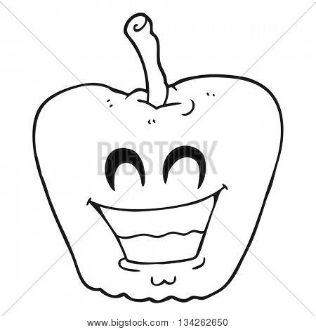 freehand drawn black and white cartoon grinning apple