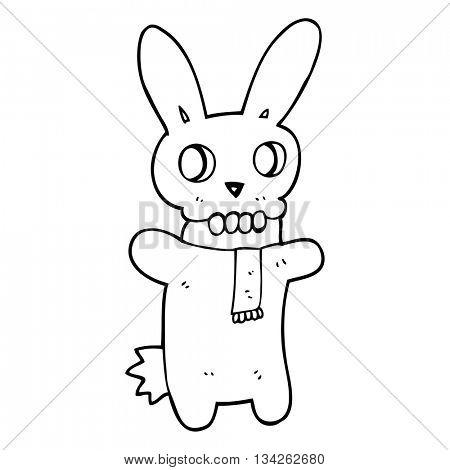 freehand drawn black and white cartoon spooky skull rabbit