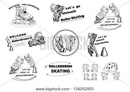 Vector illustration of set hand drawn labels, logos for Roller Skates sports. Drawing doodle icons. Lettering sport.