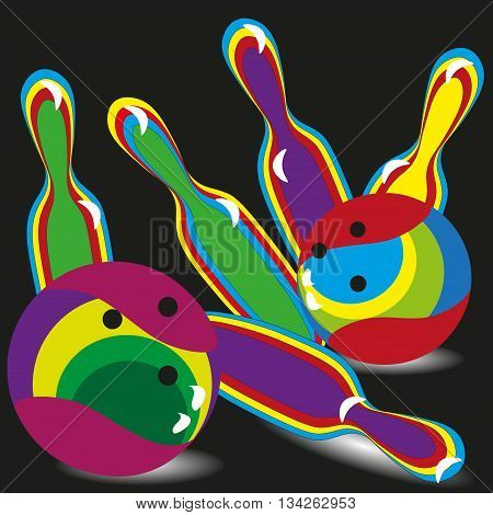 Drawing on a black background five colorful skittles bowling and two bowling balls, vector illustration for decoration and design