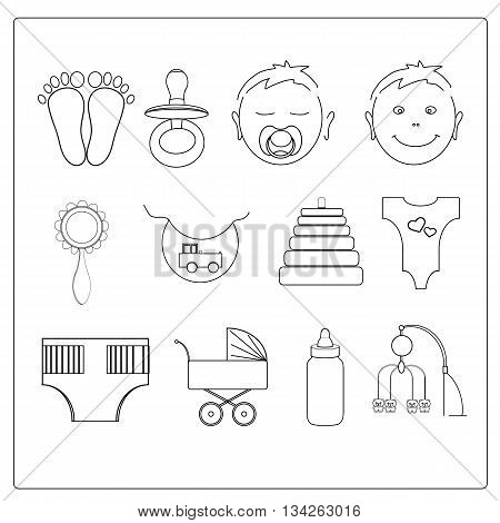 Vector illustration of set line baby icons.
