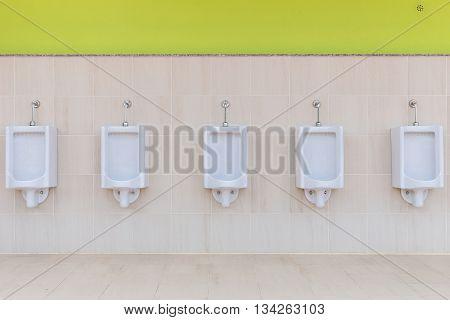Row Outdoor Urinals Men Public Toilet
