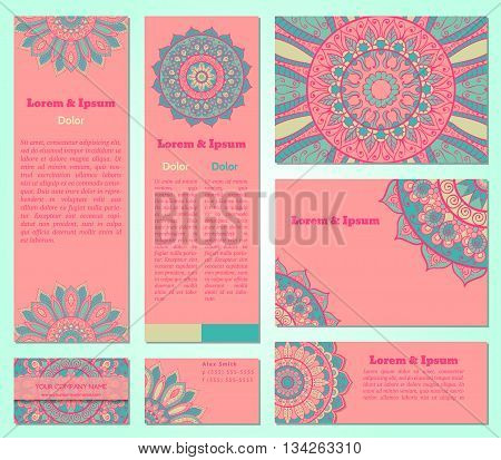 Set of business cards templates with oriental ornament. Vector background. Indian Arabic Islam motifs. Vintage design elements. Mandala and seamless border decorative elements in pink and blue