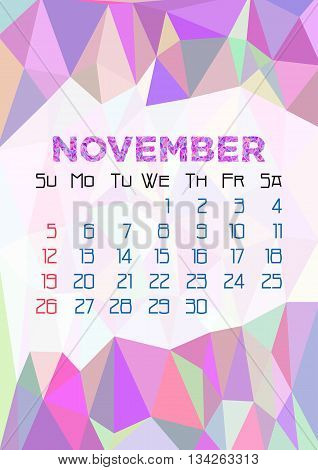 Abstract polygonal background with triangular ornament in lilac and dates of autumn month November 2017. Vector illustration