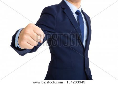 Businessman showing punch gesture