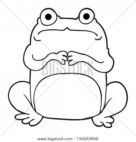 freehand drawn black and white cartoon nervous frog