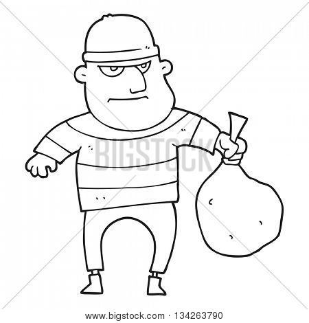 freehand drawn black and white cartoon burglar with loot bag