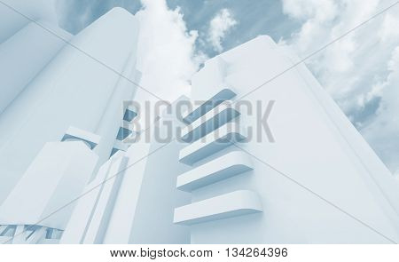 Abstract Cityscape Over Cloudy Sky 3D