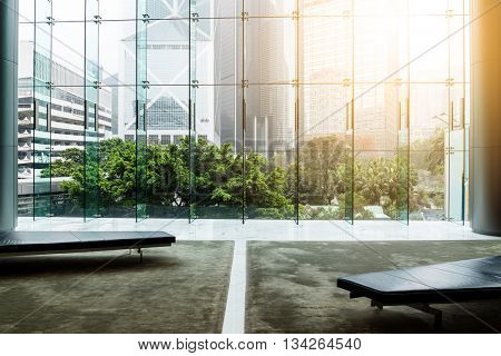 Glass wall in office building