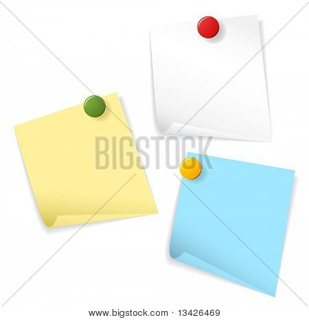Sticky papers isolated on white background