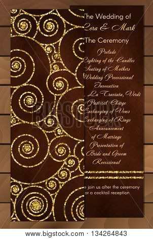 Set of trendy invitations with gold glitter texture. Wedding marriage bridal birthday Valentine's day. Isolated. Vector