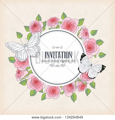 Vector invitation card with butterflies and roses. Round frame and place for you text. Perfect for greetings invitations announcement wedding design.