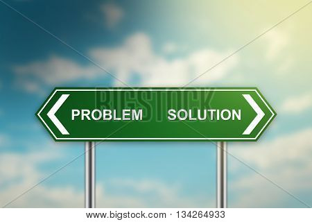 solution and problem on green road sign with blurred blue sky dark and bright side concept
