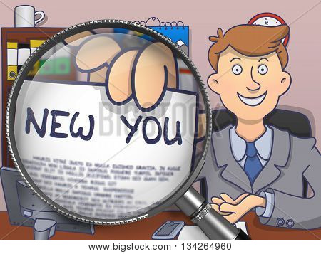 Man in Suit Shows Paper with Inscription New You through Magnifying Glass. Closeup View. Multicolor Doodle Illustration.