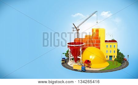 Construction Site. Concept of construction of buildings. 3D illustration or 3D rendering