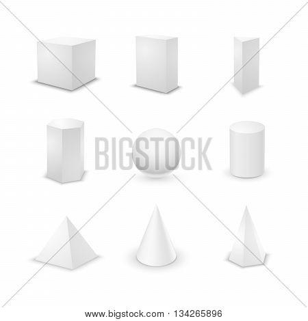 Set of nine basic elementary geometric shapes blank 3d primitives isolated on white