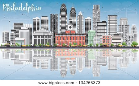 Philadelphia Skyline with Gray Buildings, Blue Sky and Reflections. Business Travel and Tourism Concept with Philadelphia City Buildings. Image for Presentation Banner Placard and Web Site.