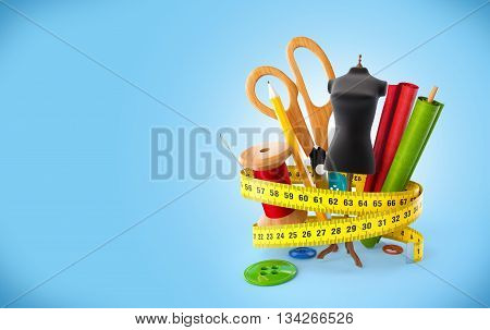 Sewing tools at blue background. Fashion design concept. 3D illustration or 3D rendering