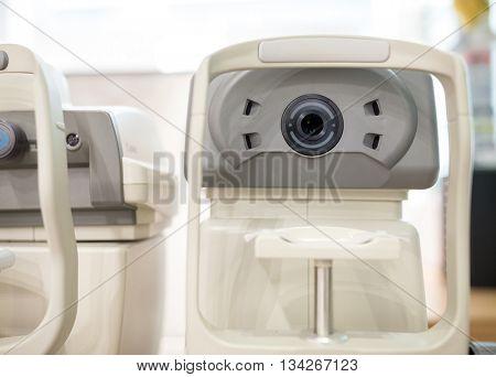 Eye test machine in the oculist office