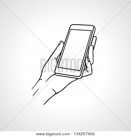 Hand Holding Mobile, arm with cell, line art drawing hand with mobile phone, front view. Vector illustration