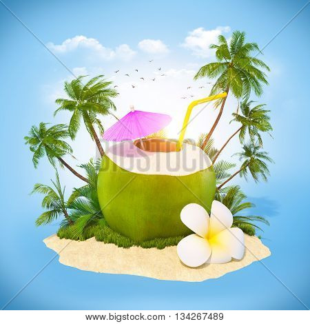 Fresh coconut on a sand with palms. Travel Background.3D illustration or 3D rendering.