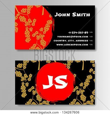 Creative Golden And Red Business Visiting Card Template. Pattern With Sakura in Japanese style. Vector Illustration