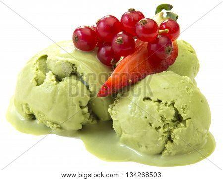 ice cream berry fruit juice on a white background