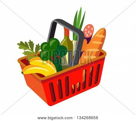 vector shopping basket with fresh food on white