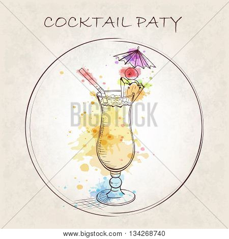 Cocktail Party booklet. Cocktail Pina Colada with watercolor spots. A sweet tropical cocktail. A delicious and refreshing Summer drink. Hand drawn vector illustration.