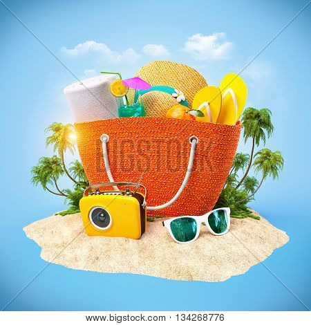 Beach bag with hat towel and other on a sand. Travel Background. 3D illustration or 3D rendering.