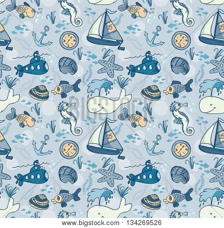 Cartoon hand-drawn seamless underwater pattern with fishes whale submarine and sailing ship. Soft color vector background.