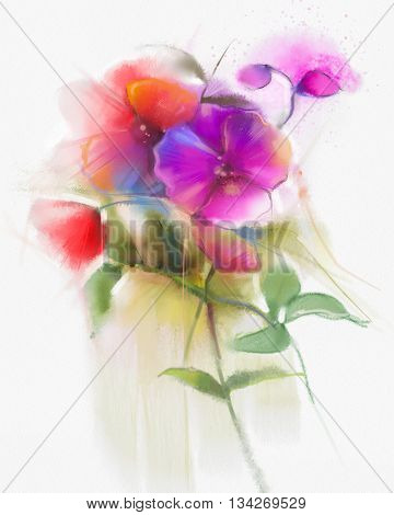 Abstract watercolor flowers painting. Hand paint still life pink and red orchid flower / floral in soft white yellow green watercolor background. Spring flower nature background