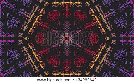 abstract decorative texture patterns elements of geometric figures in the form of a hexagon on a dark gradient background