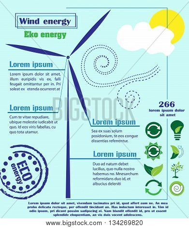 Wind power infographic infographics wind force with icons on a blue background with a windmill