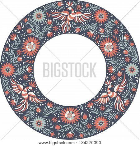 Mexican embroidery round pattern. Colorful and ornate ethnic frame pattern. Red and gray Birds and flowers on the dark background.