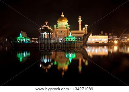 Mosque in Brunei Darussalam with a golden top.