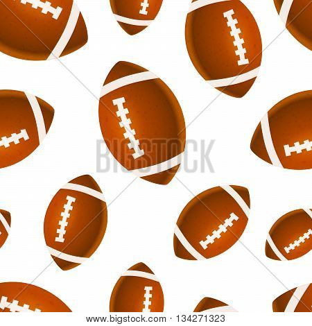 A lot of bright rugby balls on white seamless pattern