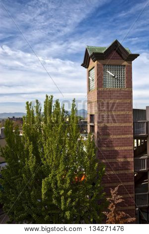 This clock tower is a popular landmark in Asheville, North Carolina